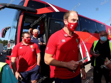 Lions player Ken Owens and Captain Alun Wyn Jones arrive in Jersey