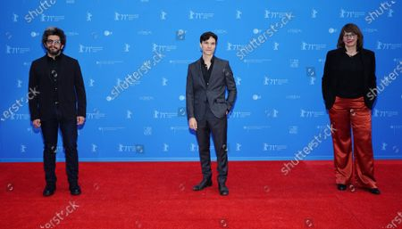Basim Magdy (L), Sebastian Urzendowsky (C) and Christine A. Maier (R) of the Short Film jury pose on the Red Carpet of the Berlin Film Festival (Berlinale) awards ceremony in Berlin, Germany, 13 June 2021. Due to the coronavirus COVID-19 pandemic, the 71st Berlinale is taking place in two stages: a virtual Industry Event, that was held from 01 to 05 March 2021, and the Summer Special for the general public running from 09 to 20 June 2021 as an outdoor-only event.