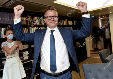 Chairperson of The National Coalition Party Petteri Orpo celebrates winning the municipal elections after returning from the tv's election night reception to his party's election day reception in Helsinki, Finland on Sunday June 13, 2021.