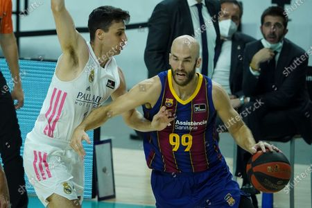 Stock Photo of NICK CALATHES of FC Barcelona  during the Liga ACB Final First Leg match between Real Madrid and FC Barcelona at Wizink Center on June 13, 2021 in Madrid, Spain.
