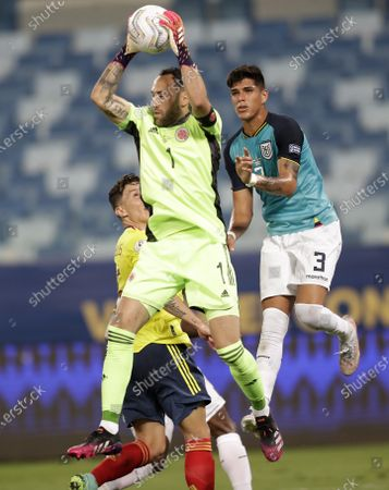 Stock Picture of Colombia's goalkeeper David Ospina saves a ball during a Copa America soccer match against Ecuador at Arena Pantanal stadium in Cuiaba, Brazil