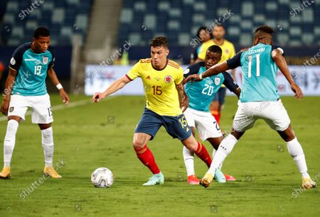 Colombia's Mateus Uribe (2-L) in action against Ecuador's Jhegson Mendez (2-R), during the Copa America group A preliminary round soccer match between Colombia and Ecuador at Arena Pantanal stadium in Cuiaba, Brazil, 13 June 2021.