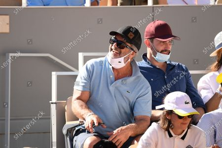 Stock Image of Mel Gibson during the final match of the French Open tennis tournament at the Roland Garros stadium