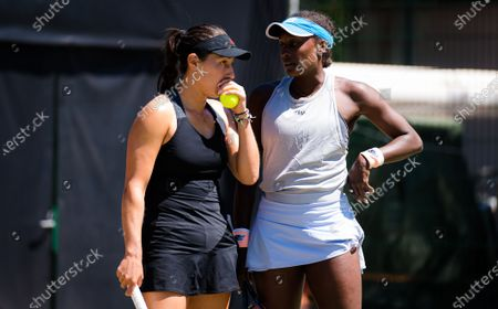 Jessica Pegula & Asia Muhammad of the United States playing doubles with Andrea Petkovic at the 2021 bett1open WTA 500 tennis tournament