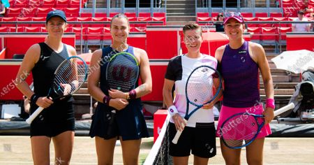 IVictoria Azarenka & Aryna Sabalenka of Belarus and Nicole Melichar of the United States & Demi Schuurs of the Netherlands before the doubles final of the 2021 bett1open WTA 500 tennis tournament