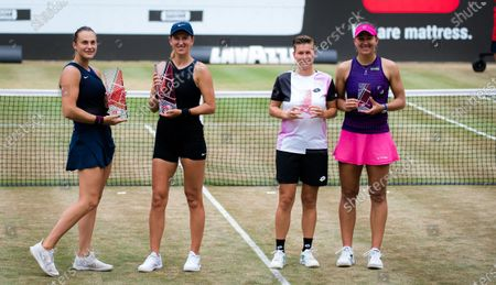 Stock Picture of Victoria Azarenka & Aryna Sabalenka of Belarus and Demi Schuurs of the Netherlands & Nicole Melichar of the United States with their trophies after the doubles final of the 2021 bett1open WTA 500 tennis tournament
