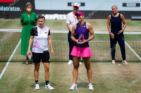 Demi Schuurs of the Netherlands & Nicole Melichar of the United States during the trophy ceremony after the doubles final of the 2021 bett1open WTA 500 tennis tournament