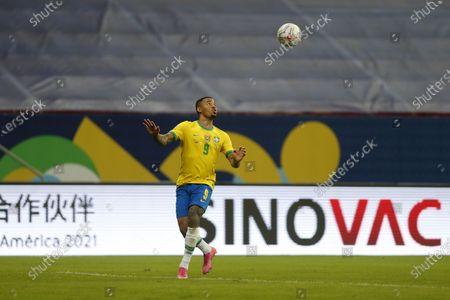 Stock Picture of (210614) - BRASILIA, June 14, 2021 (Xinhua) - Brazil's Gabriel Jesus controls the ball during the Group B match between Brazil and Venezuela at the 2021 Copa America in Brasilia, Brazil, June 13, 2021.
