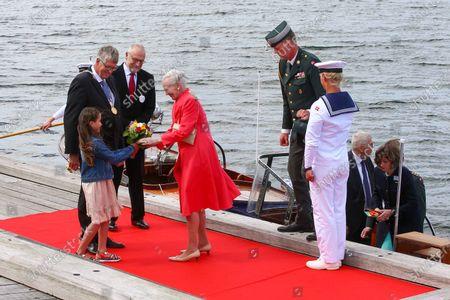 Erik Lauritzen (Mayor of Sonderburg), Queen Margrethe II of Denmark, Federal President Steinmeier on a state visit to Denmark, dinner on the royal yacht Danneborg