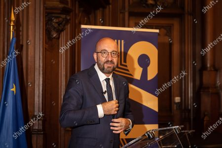 European Council President Charles Michel pictured at the celebration for 175 years anniversary of Belgian liberal Parties Open Vld and MR, at the Brussels city hall, in Brussels, Monday 14 June 2021.