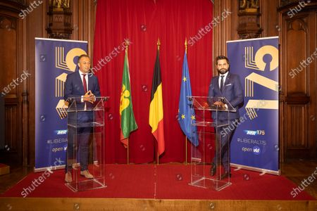 Open Vld's Egbert Lachaert and MR chairman Georges-Louis Bouchez pictured during the celebration for 175 years anniversary of Belgian liberal Parties Open Vld and MR, at the Brussels city hall, in Brussels, Monday 14 June 2021.