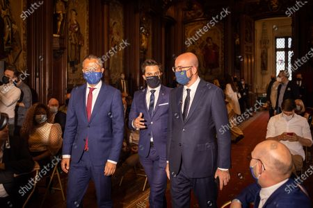 Open Vld's Egbert Lachaert, MR chairman Georges-Louis Bouchez and MR's Charles Michel pictured during the celebration for 175 years anniversary of Belgian liberal Parties Open Vld and MR, at the Brussels city hall, in Brussels, Monday 14 June 2021.