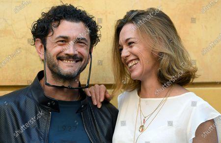 Vinicio Marchioni (L) and Milena Mancini (R) pose during a photocall for the movie 'Il Giorno e la Notte' in Rome, Italy, 14 June 2021.
