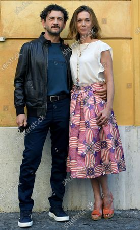 Stock Image of Vinicio Marchioni (L) and Milena Mancini (R) pose during a photocall for the movie 'Il Giorno e la Notte' in Rome, Italy, 14 June 2021.