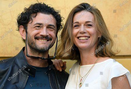 Stock Photo of Vinicio Marchioni (L) and Milena Mancini (R) pose during a photocall for the movie 'Il Giorno e la Notte' in Rome, Italy, 14 June 2021.