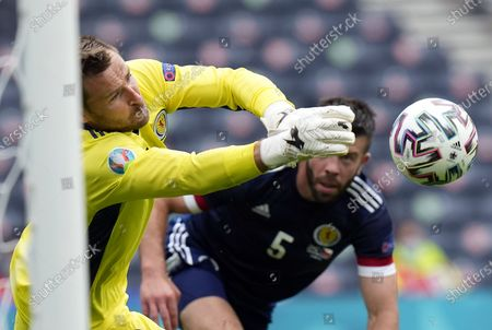 Goalkeeper David Marshall of Scotland in action during the UEFA EURO 2020 group D preliminary round soccer match between Scotland and the Czech Republic in Glasgow, Britain, 14 June 2021.