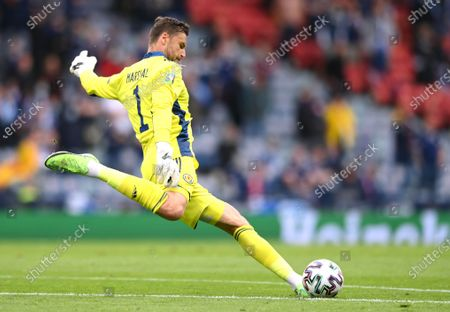 Scotland goalkeeper David Marshall in action during the UEFA EURO 2020 group D preliminary round soccer match between Scotland and the Czech Republic in Glasgow, Britain, 14 June 2021.