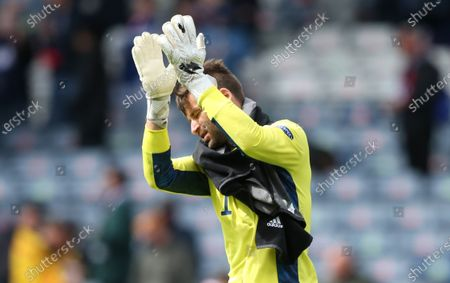 Goalkeeper David Marshall of Scotland reacts after the UEFA EURO 2020 group D preliminary round soccer match between Scotland and the Czech Republic in Glasgow, Britain, 14 June 2021.