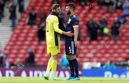 Goalkeeper David Marshall (L) of Scotland and Grant Hanley of Scotland react after the UEFA EURO 2020 group D preliminary round soccer match between Scotland and the Czech Republic in Glasgow, Britain, 14 June 2021.