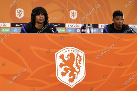 Dutch players Nathan Ake (L) and Patrick van Aanholt (R) during a press event of the Dutch national soccer team on the KNVB Campus in Zeist, The Netherlands, 14 June 2021. The Netherlands will face Austria on 17 June 2021 in group C of EURO2020.