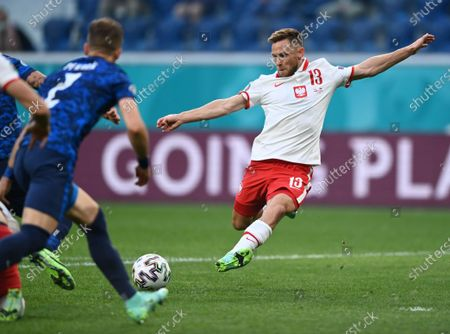 Poland's Maciej Rybus in action during the Euro 2020 soccer championship group E match between Poland and Slovakia at Gazprom arena stadium in St. Petersburg, Russia