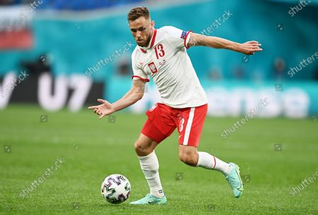 Maciej Rybus of Poland in action during the UEFA EURO 2020 group E preliminary round soccer match between Poland and Slovakia in St. Petersburg, Russia, 14 June 2021.