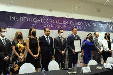 Stock Image of Mauricio Kuri of National Action Party (PAN) receives by Queretaro Electoral Institute a certificate of votes majority in the recent electoral process that certify as Governor Elect of the State of Queretaro on June 13, 2021 in Queretaro, Mexico.