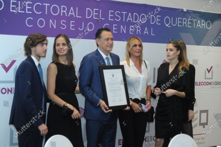 Stock Picture of Mauricio Kuri of National Action Party (PAN) receives by Queretaro Electoral Institute a certificate of votes majority in the recent electoral process that certify as Governor Elect of the State of Queretaro on June 13, 2021 in Queretaro, Mexico.