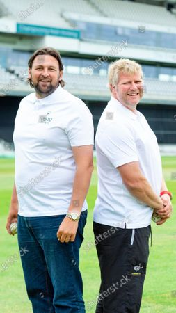 Stock Image of Steve Harmison & Matthew Hoggard at the bowling masterclass.
