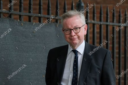 LONDON, UNITED KINGDOM - JUNE 14, 2021: Chancellor of the Duchy of Lancaster Michael Gove leaves Downing Street on June 14, 2021 in London, England. British Prime Minister Boris Johnson expected to announce today a delay of up to four weeks to lifting of England's Covid-19 restrictions in an effort to tackle the rise of infections caused by the Delta variant of the coronavirus, which now accounts for more than 90% of new cases in the UK.