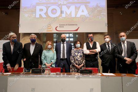 Stock Image of Vittorio Sgarbi, Antonio Tajani, Giorgia Meloni, Enrico Michetti, Simonetta Matone, Matteo Salvini, Maurizio Lupi, Lorenzo Cesa