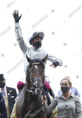Frankie Dettori celebrates after riding Palace Pier to victory during The Queen Anne Stakes (Group 1) on Day 1 of Royal Ascot