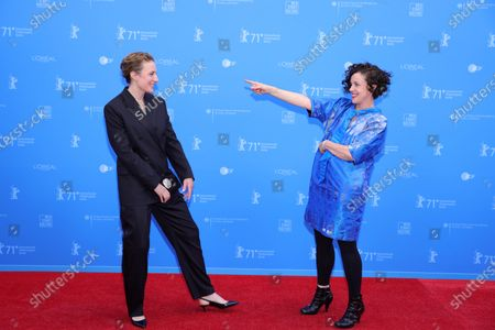 Maren Eggert (L) and Maria Schrader (R) attend the European Shooting Stars Awards and 'Ich bin dein Mensch' (I'm Your Man) premiere during the 71st Berlinale International Film Festival Summer Special at Freiluftkino Museumsinsel in Berlin, Germany, 15 June 2021. Due to the coronavirus COVID-19 pandemic, the 71st Berlinale is taking place in two stages: a virtual Industry Event, that was held from 01 to 05 March 2021, and the Summer Special for the general public running from 09 to 20 June 2021 as an outdoor-only event.