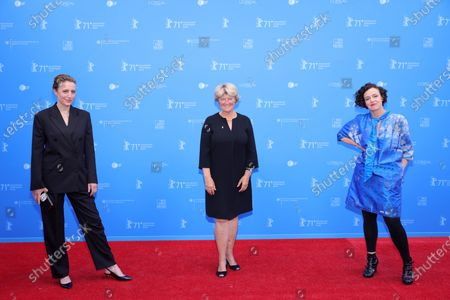 Maren Eggert, Federal Commissioner for Culture and Media Monika Gruetters and Maria Schrader attend the European Shooting Stars Awards and 'Ich bin dein Mensch' (I'm Your Man) premiere during the 71st Berlinale International Film Festival Summer Special at Freiluftkino Museumsinsel in Berlin, Germany, 15 June 2021. Due to the coronavirus COVID-19 pandemic, the 71st Berlinale is taking place in two stages: a virtual Industry Event, that was held from 01 to 05 March 2021, and the Summer Special for the general public running from 09 to 20 June 2021 as an outdoor-only event.