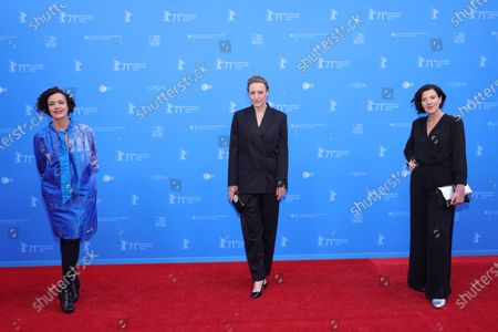 Maria Schrader, Maren Eggert and Lisa Blumenberg attend the European Shooting Stars Awards and 'Ich bin dein Mensch' (I'm Your Man) premiere during the 71st Berlinale International Film Festival Summer Special at Freiluftkino Museumsinsel in Berlin, Germany, 15 June 2021. Due to the coronavirus COVID-19 pandemic, the 71st Berlinale is taking place in two stages: a virtual Industry Event, that was held from 01 to 05 March 2021, and the Summer Special for the general public running from 09 to 20 June 2021 as an outdoor-only event.