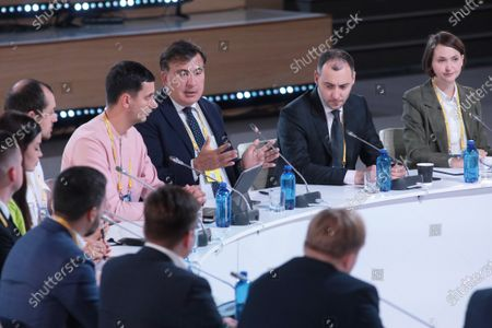 Head of the Executive Committee of the National Reforms Council of Ukraine Mikheil Saakashvili and Minister of Infrastructure of Ukraine Oleksandr Kubrakov (L to R, middle) attend the Sailors, Anticorruption, Services for Sailors. Presentation of a Plan Aimed at Improving Public Services for Sailors and Overcoming Corruption in the Industry special session on the sidelines of the Ukraine 30. Economy Without Oligarchs Forum, Kyiv, capital of Ukraine.