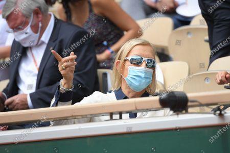 Martina Navratilova during the final of french open tennis tournament at Roland Garros
