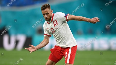 Stock Image of Poland's Maciej Rybus during the Euro 2020 soccer championship group E match between Poland and Slovakia at Gazprom arena stadium in St. Petersburg, Russia
