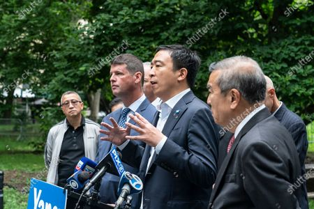 Mayoral candidate Andrew Yang receives endorsement by Captains Endowment Association and the Asian-American Police Executive Council at City Hall Park. To Andrew Yang left is AAPEX Advisory Board Chairman and former NYPD Deputy Commissioner-Trials Hugh Mo, to Yang right is Captains Endowment Association President Christopher Monahan. As Chris Monahan said â€oeCrime is getting worse in New York and we need a clean break from the politicians and insiders who got us into this situationâ€oe.