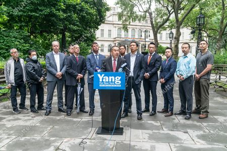 AAPEX Advisory Board Chairman and former NYPD Deputy Commissioner-Trials Hugh Mo speaks at mayoral candidate Andrew Yang endorsement by Captains Endowment Association and the Asian-American Police Executive Council at City Hall Park. To Hugh Mo right is President of CEA Chris Monahan, to Mo left is mayoral candidate Andrew Yang. As Chris Monahan said â€oeCrime is getting worse in New York and we need a clean break from the politicians and insiders who got us into this situationâ€oe.