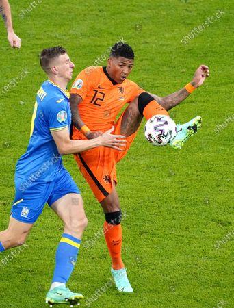 Patrick Van Aanholt of the Netherlands duels Ukrain during the UEFA EURO 2020 Group C football match between Netherlands and Ukraine at the Johan Cruijff Arena in Amsterdam.