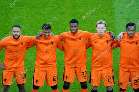 Memphis Depay, Patrick Van Aanholt, Denzel Dumfries, Frenkie de Jong and Jurrien Timber during the UEFA EURO 2020 Group C football match between Netherlands and Ukraine at the Johan Cruijff Arena in Amsterdam.