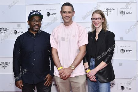 """Loren Hammonds, left, Josh Swade and Rebecca Teitel attend the premiere of """"Ricky Powell: The Individualist"""" during the 20th Tribeca Festival at Brookfield Place, in New York"""
