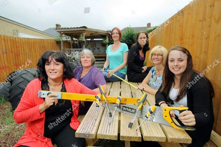 L-R Lynda Ross, Linda Bowrne, Melanie Anderson, Helen Williams, Jayne Naylor and Amanda Wilmot at a picnic table they made