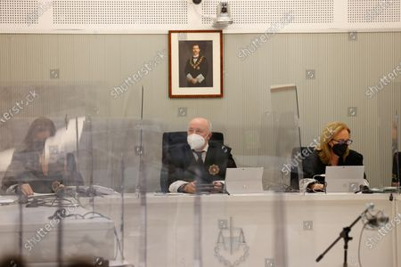 A view of the courtroom during the extradition hearing of John McAfee (unseen), creator of the famous commercial antivirus software McAfee, appearing via videoconference during his extradition hearing at Audiencia Nacional court, in Madrid, Spain, 15 June 2021. The USA requested his extradition for allegedly hiding huge revenues between 2014 and 2018.