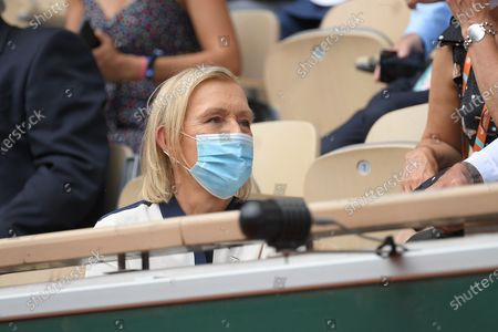 Martina Navratilova during the final of french open tennis tournament at Roland Garros in Paris, France.