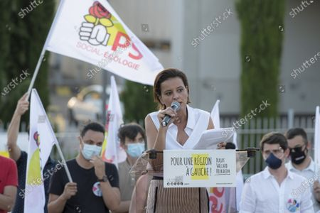 Stock Image of The Socialist candidate for the Regionals in Auvergne-Rhone-Alpes, Najat Vallaud-Belkacem, was in a meeting in Lyon on Monday evening, a few days before the 1st round of the elections scheduled for Sunday 20 June.