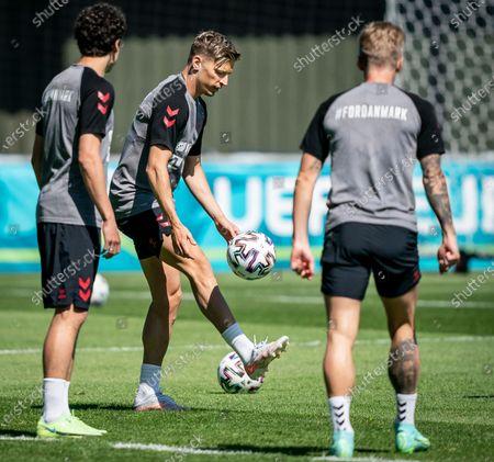 Denmark's Jens Stryger Larsen (C) during the national soccer team training session in Elsinore, Denmark, 15 June 2021. Denmark will face Belgium on 17 June 2021 in group B of EURO2020.