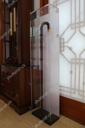A cane used by former South Korean President Kim Dae-jung is displayed at a memorial at his private residence in Goyang, just northwest of Seoul, South Korea, 15 June 2021. The memorial opened the same day to mark the 21st anniversary of the first-ever inter-Korean summit held in June 2000 between Kim and North Korean leader Kim Jong-il.