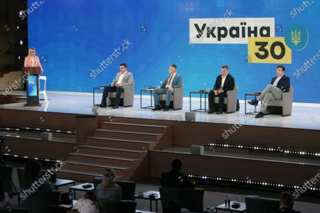 Deputy Chairperson of the Verkhovna Rada Committee on Anti-Corruption Policy Olena Moshenets, Secretary of the National Security and Defense Council (NSDC) of Ukraine Oleksiy Danilov, head of the National Agency on Corruption Prevention Oleksandr Novikov, President of the Kyiv School of Economics, advisor to the Head of the Office of the President of Ukraine Tymofiy Mylovanov and head of the Executive Committee of the National Reforms Council of Ukraine Mikheil Saakashvili (L to R) attend the Countering Oligarch Influence session on Day Two of the Ukraine 30. Economy Without Oligarchs in Kyiv, capital of Ukraine.